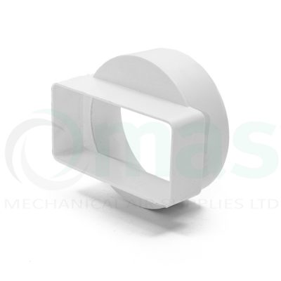Plastic-Duct-Systems-System-100-Square-to-Round-Short-In-Line-Adapter-0001