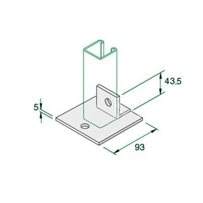 W034-P2072-Single-Fix-BAse-Plate