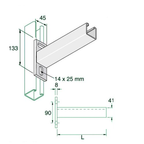 Cantilever arms for Unistrut