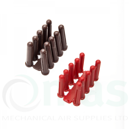 Brown and Red Plastic Rawl wall plugs