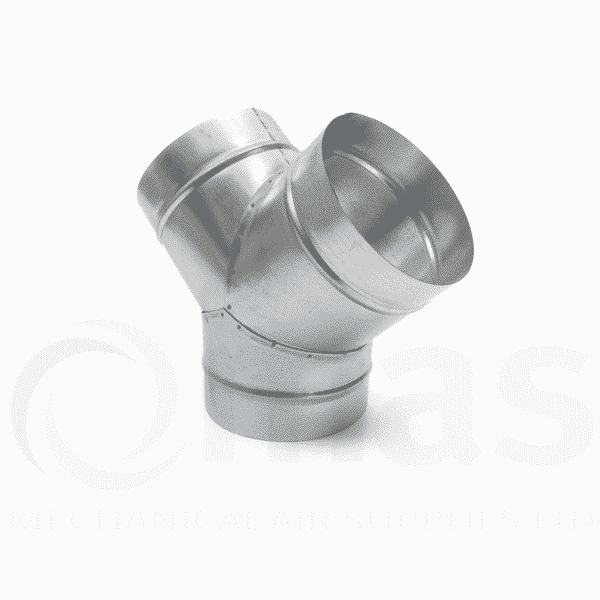 Degree y piece for circular spiral ducting mechanical