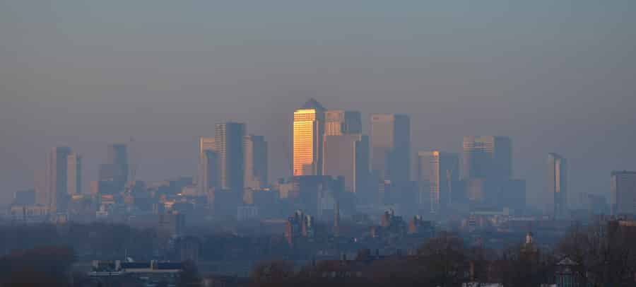 London Skyline with pollution - Consider a NOx Filter